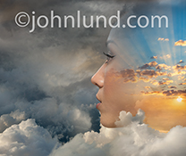 The woman in this stock photo has a positive attitude as evidenced by the sunrise image coming through her visage in contrast to the surrounding storm clouds.