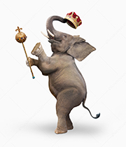 Trump is seen as a Republican elephant holding a crown and scepter in a stock photo and meme about impeachment, abuse of power, and corruption.