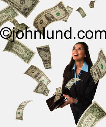 A business woman holds a purse with money flowing out into the room around her showing her successful investments.