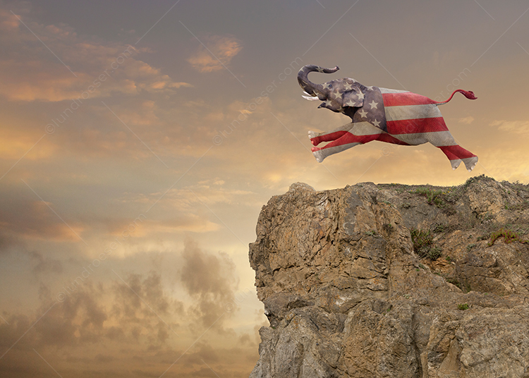 An elephant superimposed with an American Flag, and representing the Republican party, sprints towards the edge of a cliff in a stock photo political commentary.