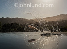 In this photo a rock is caught frozen in mid flight as it ascends after striking the water and leaving a dramatic splash in a classic image of skipping a rock across the still waters of a lake.