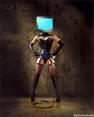 Photo of a sexy beautiful dominatrix with leather outfit, whip, handcuffs, boots and a computer for her head. Sometimes used for representing pornography on the internet.