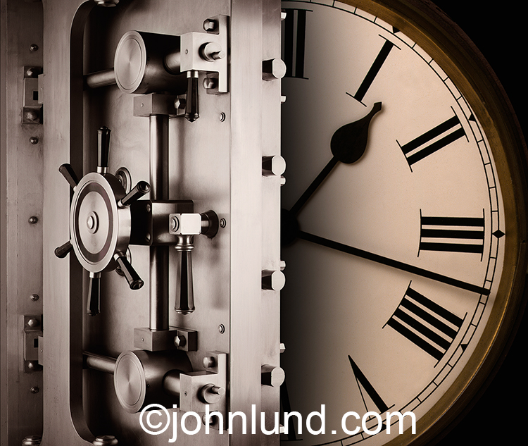 The concept of saving valuable time is illustrated in this stock photo featuring a clock face behind an opening vault door.