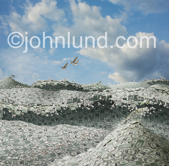 An ocean scene is a sea of money composed of waves of dollars and coins beneath a bucolic lightly clouded sky with three pelicans gliding through.