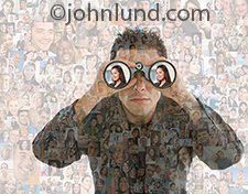 Searching the social media crowd is the primary theme of this image showing a man looking throught binoculars against a background of over a hundred individual portraits.
