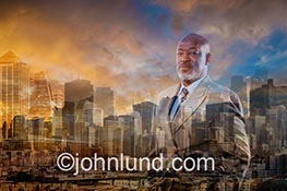 A distinguished senior executive blends into a dynamic urban background in this concept stock photo about global business, management and leadership.