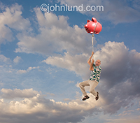 A senior man holds on to a piggy bank that is rising up into the sky in a metaphor for growing retirement savings and investment.