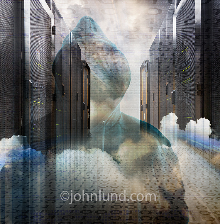 A hoodie is combined with clouds and servers in a stock photo about hackers and cyber crime.