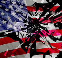 This American flag, multiple-exposed with shattering glass, illustrates the concept of issues facing America and democracy.