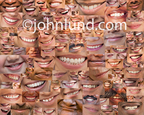 A montage of over two hundred smiles, and only smiles, is an image that can't help but make the viewer smile as well!