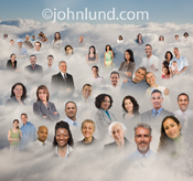 Numerous individual people are revealed standing in a cloud in a photo reprsenting social media as well as cloud computing and social networking.