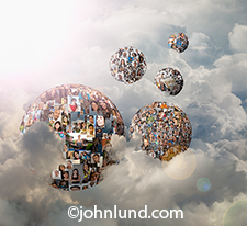 Five globes of individual portraits morphed into spherew float in a high altitude cloudscape in a metaphor for social media worlds and spheres of influence in this networking stock photo.