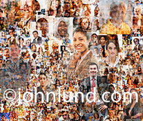 Social media composite portrait: Well over a hundred individual portaits are composited together into a dynamic social media tapestry illustrating concepts for social networking issues.