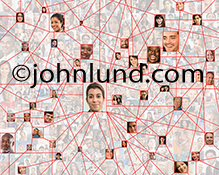 Social media connections are illustrated in this image that includes over a hundred individual portraits with visible links between numerous between various people in the photo.