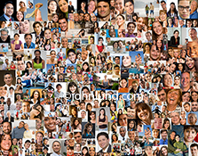 A social media photograph, this image shows well over a hundred individual portraits composited together into a single image that can be a visual metaphor for social networking, demographic issues, on line communities and Internet tribes.