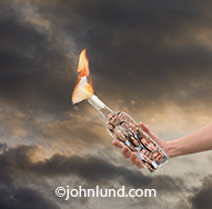 Social media is disruptive technology in this image of a person holding a molotov cocktail in which the bottle is filled with social media portraits.