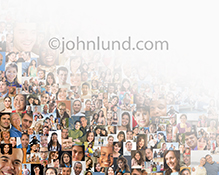 A social media stock photo, created from over two hundred individual portraits, gradates to white in an image about social networking, community, diversity, demographics and connections.