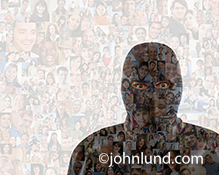 A computer hacker, wearing a ski mask, is double exposed over a background of social media portraits in an image about online threats associated with social networking.
