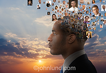 An African American businessman is profiled against a sunrise or sunset while emerging from his head are numerous portraits of individual people in a visual metaphor for social media connections and thoughts.