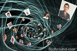 A dynamic blue network of light with a series of individual portraits embedded, spirals towards the viewer in this compelling stock photo about social media, networking, streaming data and wireless connections.