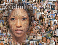 An African American Woman's face superimposed over hundreds of other faces as a social media concept stock photo.