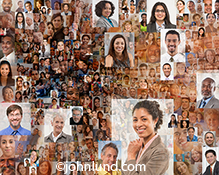 Social media is the topic of this stock image depicting social networking in an environment of speed and motion by compositing numerous individual portraits into a dynamic expression of connection and speed.
