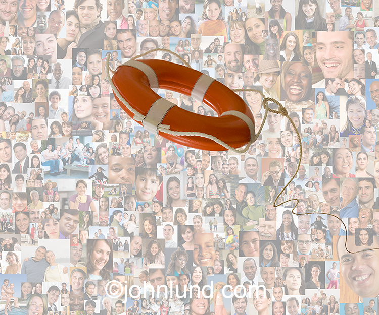 Social media rescue is the concept behind this stock photo of a life ring sailing out over a background of social media portraits.