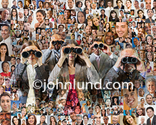 Social media issues involving searches and searching are illustrated by this photo of five individuals using binoculars against a background of over one hundred individual portraits.