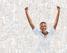 In a social media success stock photo a woman raises her arms in celebration superimposed over a background of social media portraits.