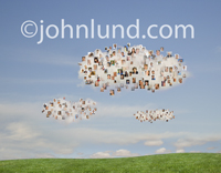 Clouds are filled with the portraits of people in this image illustrating the concepts of social media and networking in this stock photo.