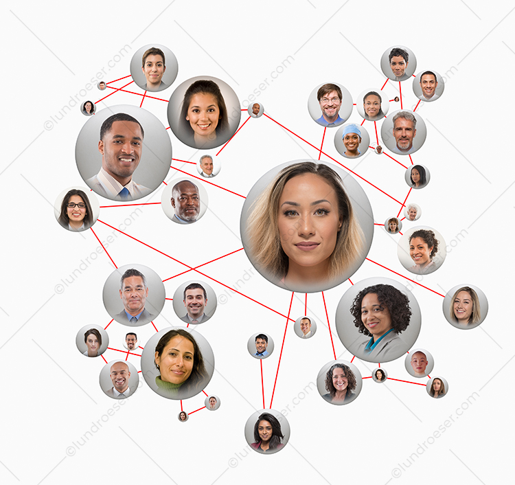 Social media networking connections are illustrated in this stock photo featuring multiple social media portraits connected via red lines.