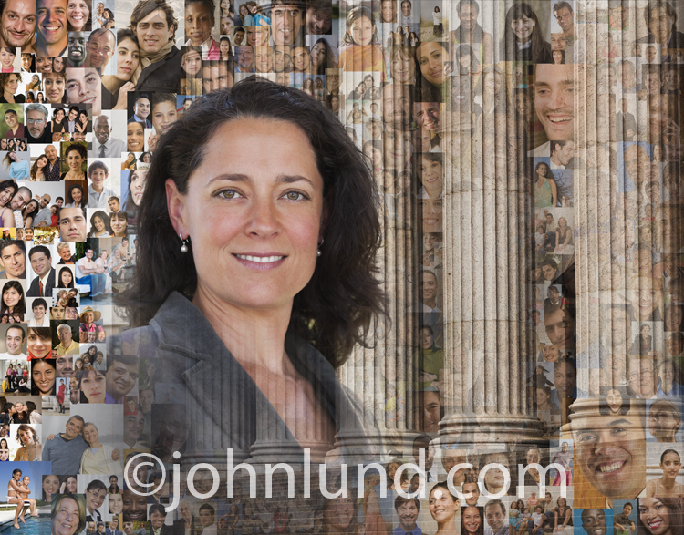 A confident woman is pictured against a backdrop of financial pillars and hundreds of individual portraits in this businesswoman portrait.