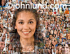 A social media image featuring an Hispanic woman against a background of over a hundred members of a social community, fan base, or tribe.
