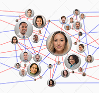 Social connections are illustrated in this stock photo featuring multiple social media portraits connected via red and blue lines.