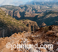 This rugged mountain landscape was photographed on the island of Socotra off the coast of Yemen.