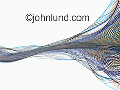 Network connections, big data, streaming information and communications technology are all elegantly illustrated in this stock photo of colored lines of light flowing gracefully across a white background.