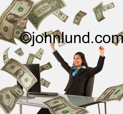 Picture of money flying out of a computer and filling the room around an ethnic woman seated in front of the computer.