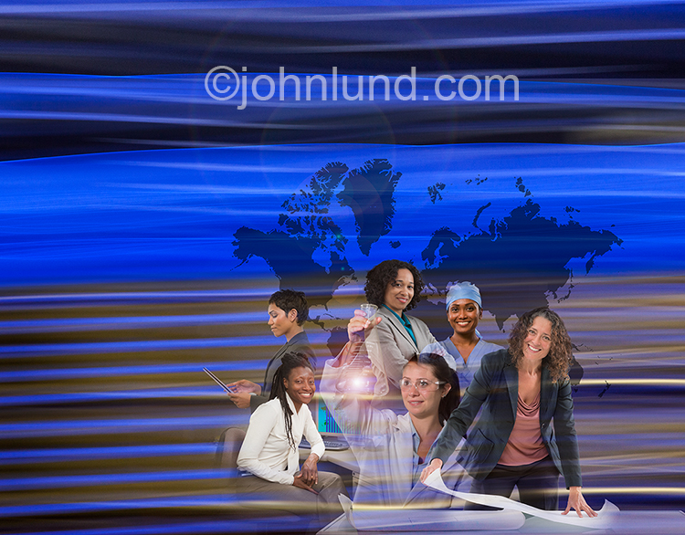 Successful working women are shown in this stock photo featuring six women in different business roles combined with a global map and light streaks indicating technology and communications.