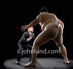 Picture of a man facing off with a Sumo Wrestler in a mismatch and business metaphor for the competitive marketplace.