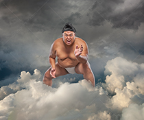 A menacing Sumo wrestler stands in a cloudscape in an image about the risks, problems and obstacles in cloud computing.