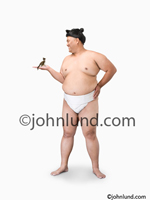 Picture of a Sumo wrestler holding a small kitten in an image showing contrast and difference, large and small. Japanese sumo wrestler picture.