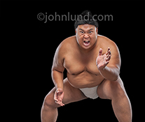 A sumo wrestler wearing an aggressive expression, prepares for action in a stock photo about danger, risk, and adversity.