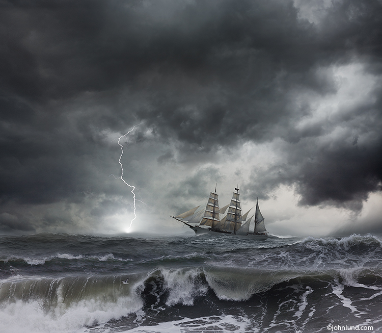 Tall Ship In A Lightning Storm