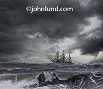 A tall ship sails under stormy skies in rough seas in this epic adventure sailing photo image about risk, danger, and exploration.