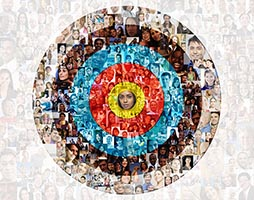 A background of social media portraits is superimposed over the rings of a target centering on one woman in a stock photo about social networking, demographics, targeting and networking.
