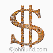 A dollar sign created from computer circuitry becomes a technology stock photo about investment, profits, tech spending and technology financial issues.