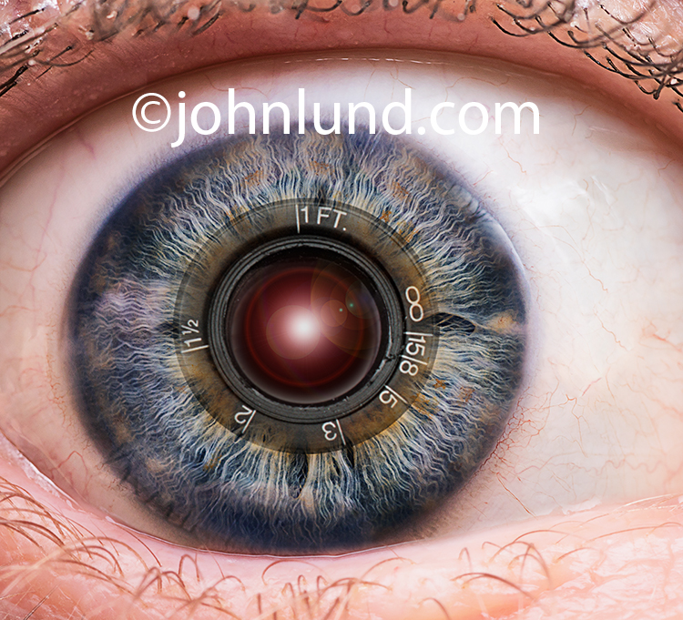 Bioengineering is the primary concept in this technology eye stock photo featuring a close up of a human eye in which the iris has been integrated with a camera lens.