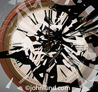 A clock shatters like a broken pane of glass in this photo about issues related to time, deadlines and punctuality.