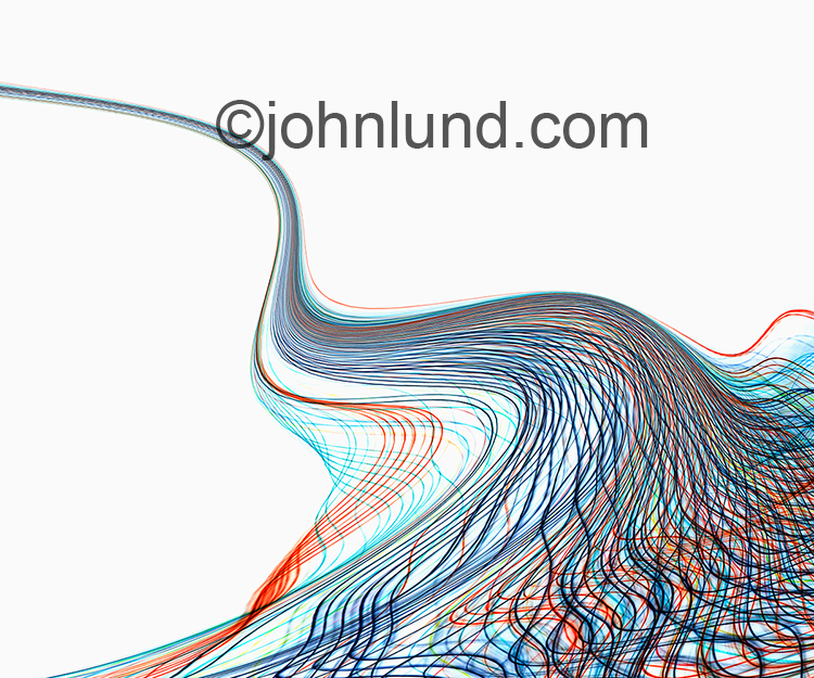 Undulating lines of blue and orange light traverse across a white background in a visual metaphor for streaming data, future communications technology, and big data.