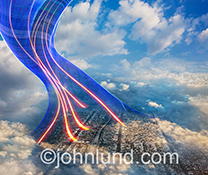 Wireless communications, cloud computing and networking connections are all represented by this stock photo of vividly colored streaming light trails curving up from the city of Los Angeles into the sky.